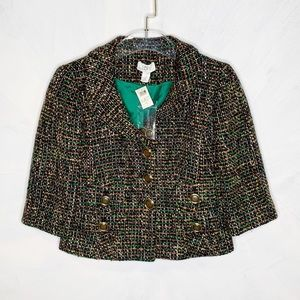 LOFT Tweed Cropped Blazer Jacket